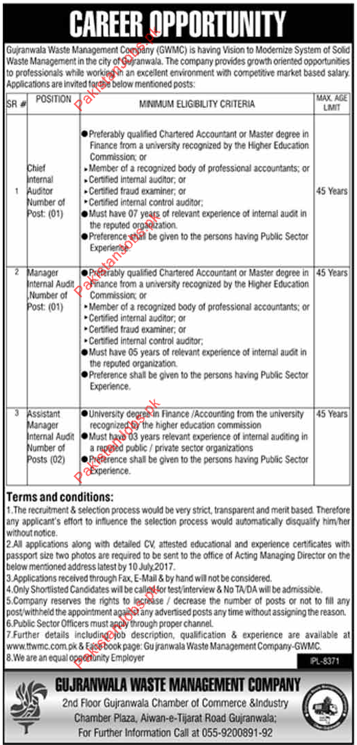 GWMC Wanted Chief Internal Auditor, Manager Internal Auditor ...