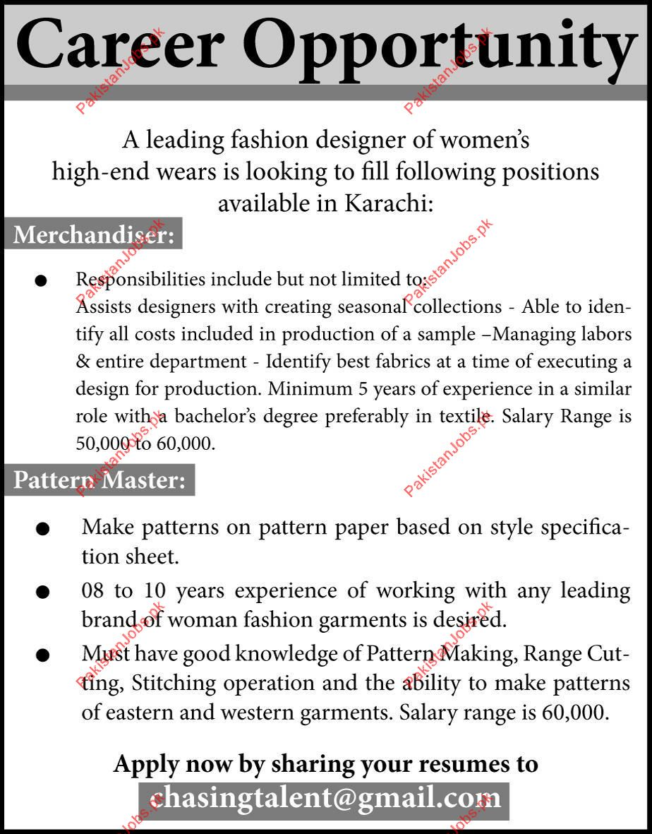 Fashion Designer Pattern Master Required In Karachi Sindh 2020 Fashion House Jobs In Karachi Pakistan