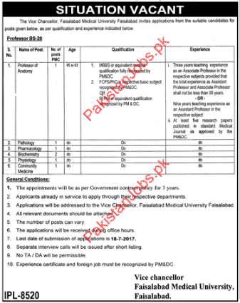 Professor Anatomy Jobs In Faisalabad Medical University 2018
