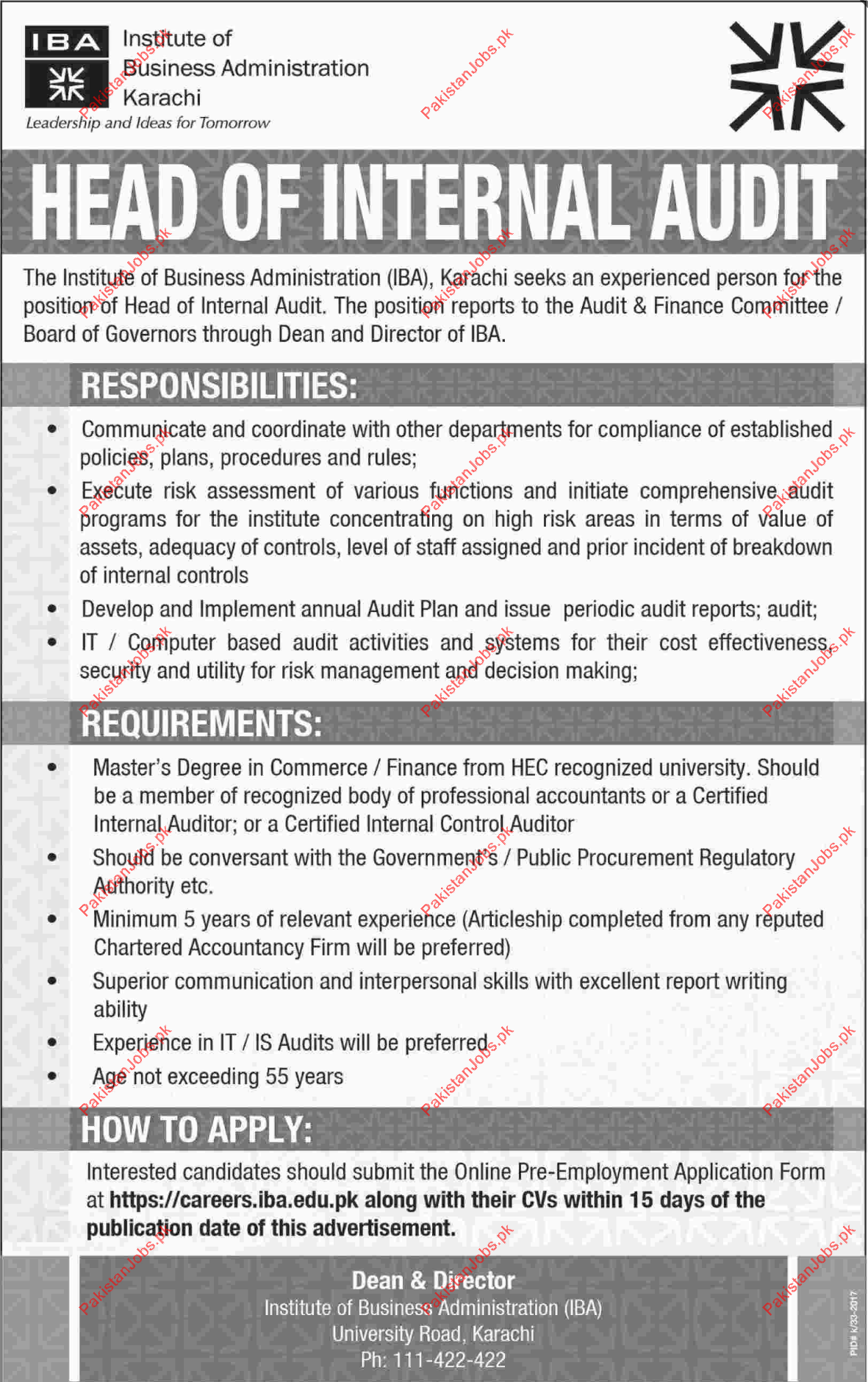 Iba Needed Head Of Internal Audit In Karachi Sindh 2019