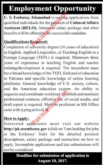 Cultural Affairs Assistant Jobs In U S Embassy, Islamabad