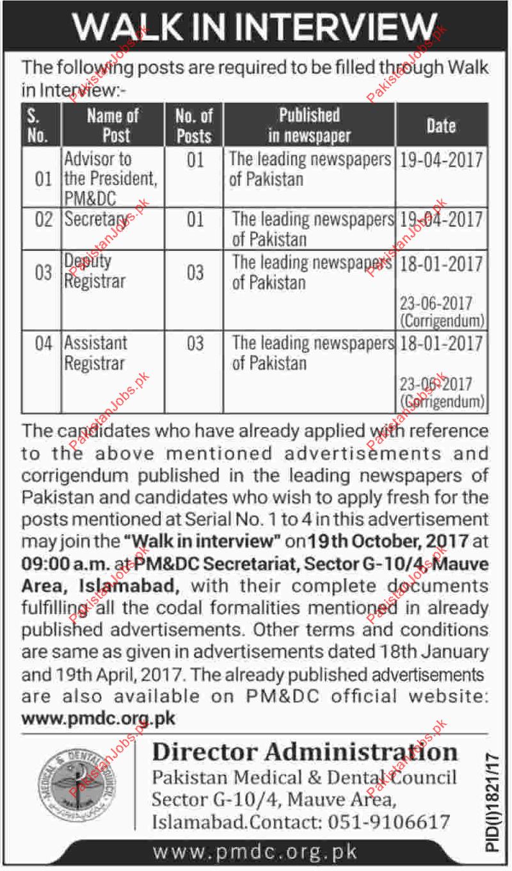 Advisor Secretary Deputy Registrar Assistant Registrar Jobs 2019