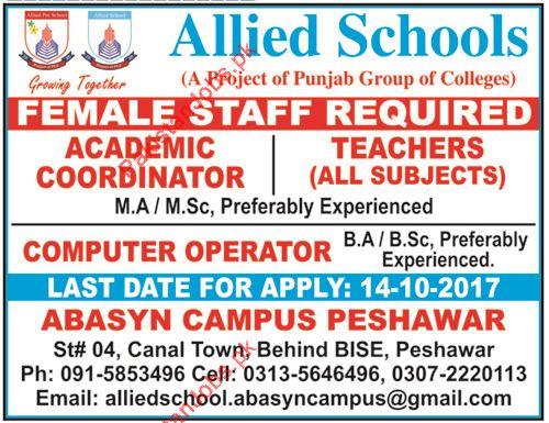 Academic Coordinator, Teachers & Computer Operator Jobs 2018 Allied ...