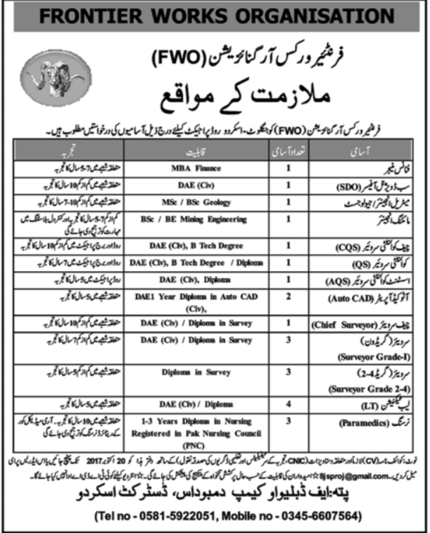 FWO Frontier Works Organisation Jobs Opportunity 2019 Friend