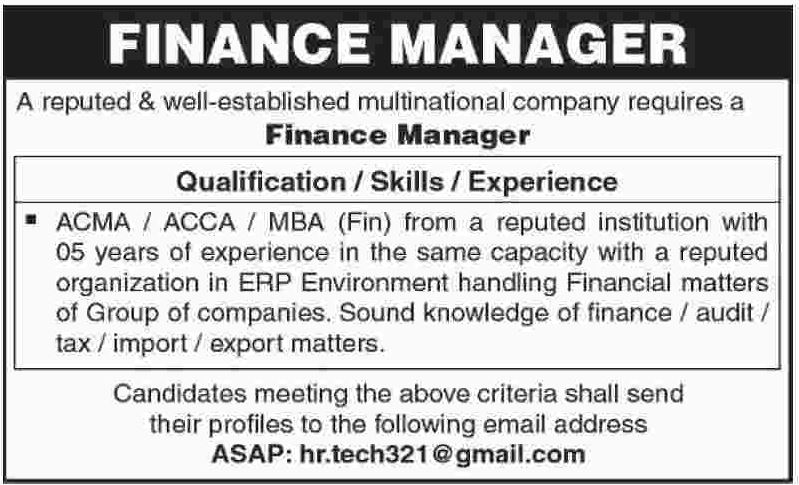 Finance Manager Required Multinational Company  Multinational