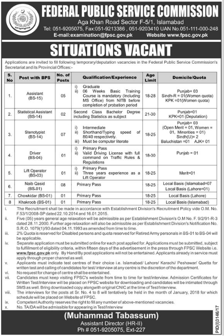 Assistant, Statistical Assistant, Stenotypist, Driver, Lift Operator ...