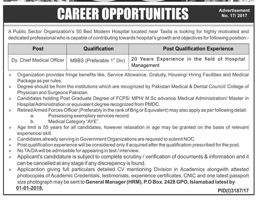 Medical Officer Jobs Opportunity in Islamabad 2018 2018 Public ...