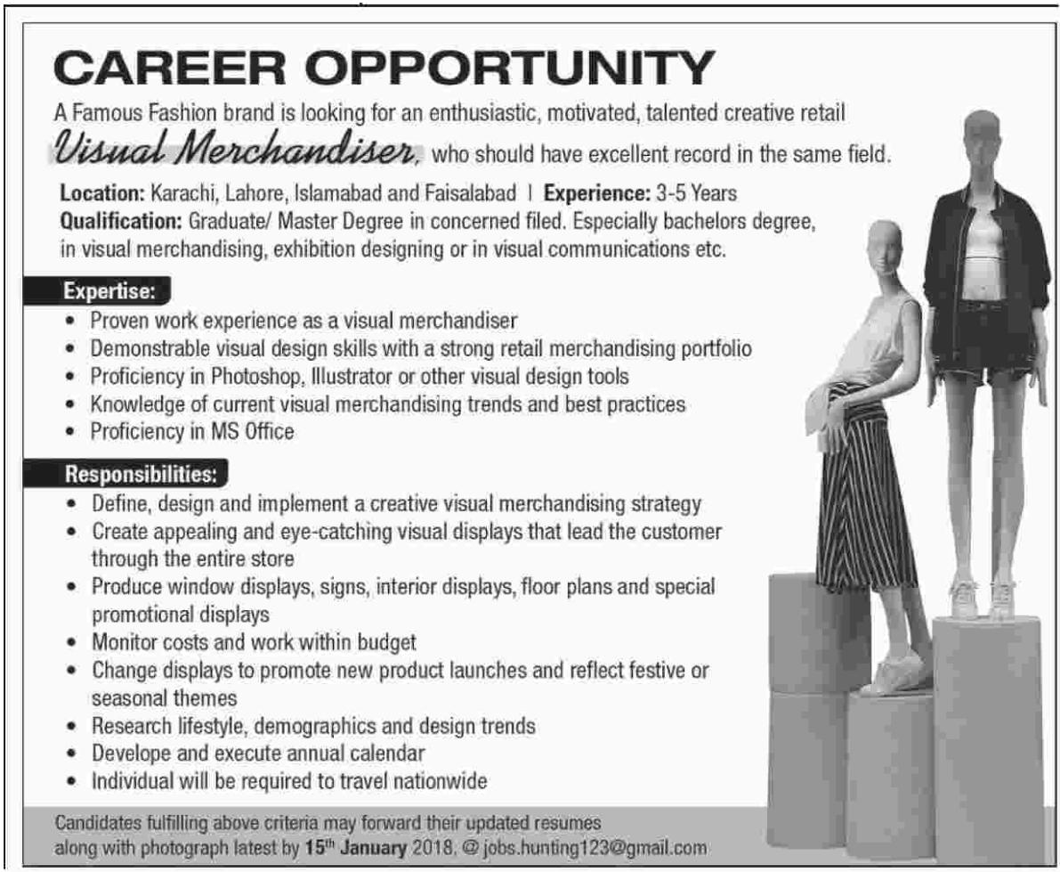 Visual Merchandiser Required For Karachi Lahore Islamabad Faisalabad 2020 Fashion House Jobs In Karachi Pakistan