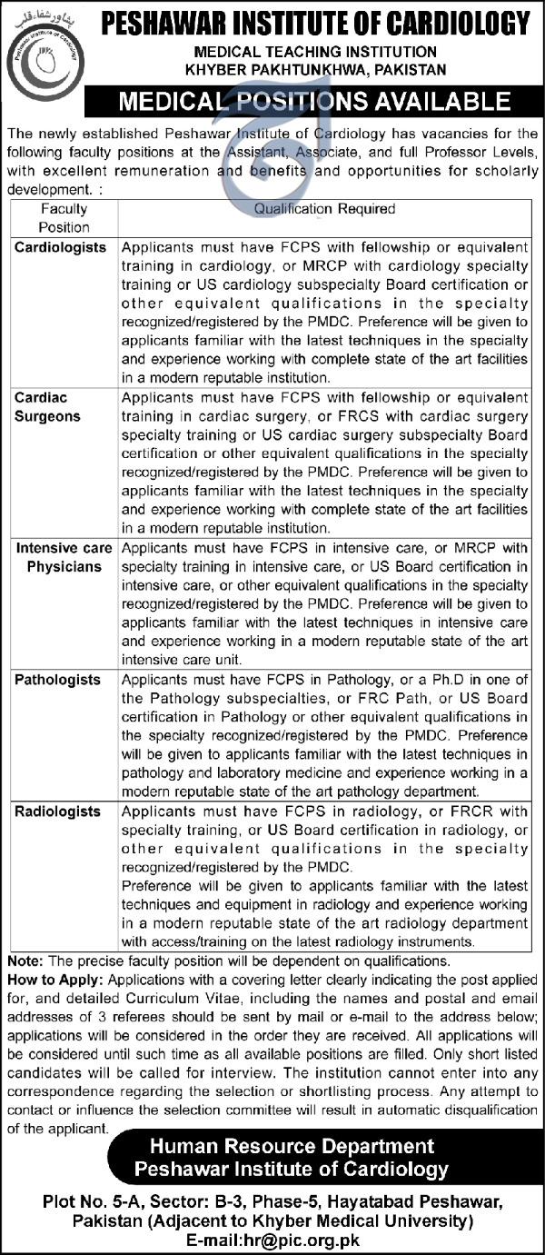 Peshawar Institute Of Cardiology Jobs For Cardiologist Cardiac Surgeon 2020 Institute Of Cardiology Jobs In Peshawar Pakistan