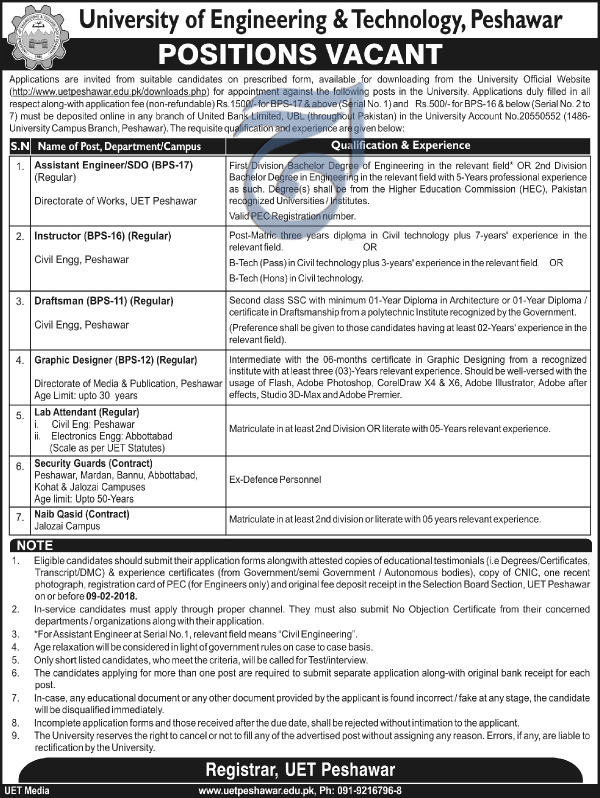 Assistant Engineer Required University Of Engineering  Technology