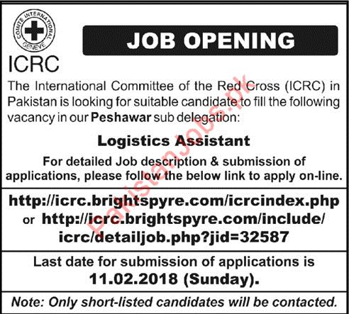 Icrc Required Logistics Assistant For Peshawar Kpk