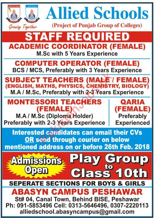 Allied Schools Jobs Academic Coordinator, Computer Operator ...