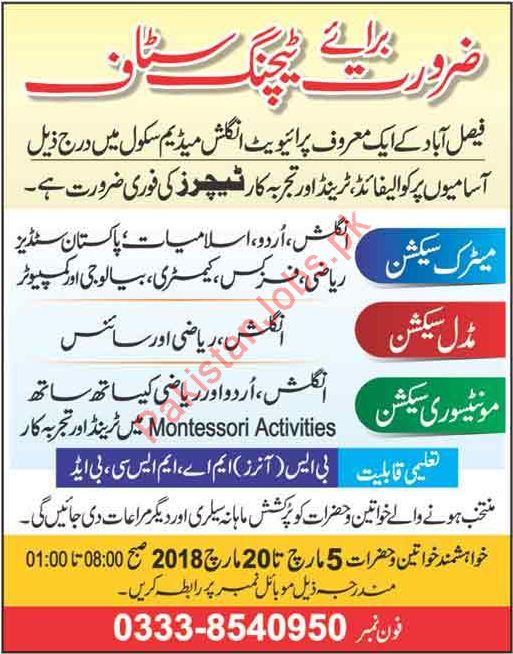 Teaching Jobs in Private School in Faisalabad 2019 Private