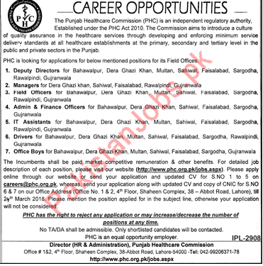 PHC Jobs Deputy Directors, Managers, Field Officer, IT