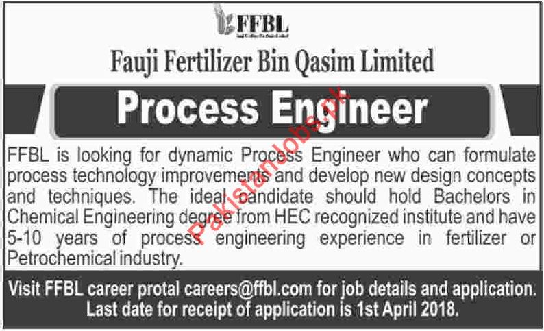Fauji Fertilizer Bin Qasim Limited Process Engineer Jobs