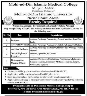 Mohi ud din Islamic Medical College Professor Jobs 2018 2018 Mohi-ud ...