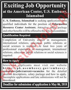 US Embassy Information Resource Center Assistant Jobs 2018