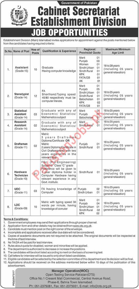 Cabinet Divison Assistant Jobs 2018 in Islamabad 2018 Establishment ...