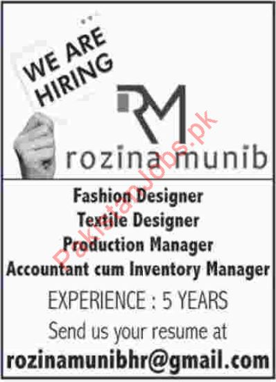 Fashion Designers Jobs In Rozina Munib 2020 Rozina Munib Jobs In Karachi Pakistan