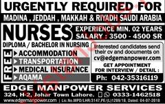 Nurses Jobs 2018 For Madinah, Jeddah, Makkah & Riyadh Saudi Arabia