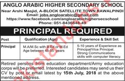 Anglo Arabic Public Secondary School Job 2018 Principal in