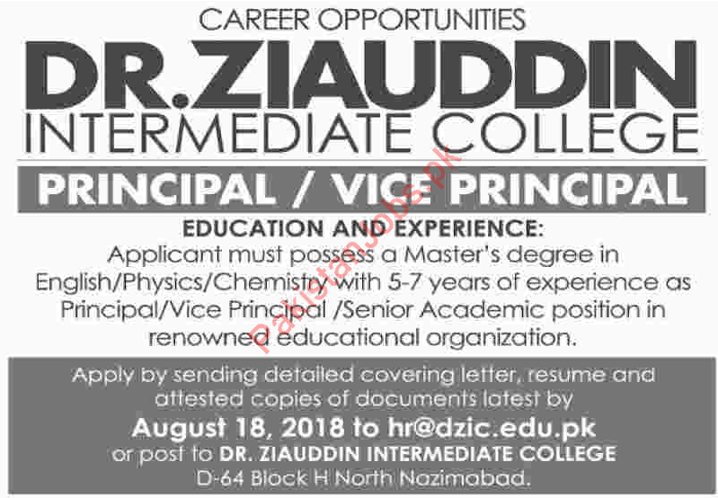 Principal for Dr Ziauddin Intermediate College DZIC 2019 Dr Ziauddin