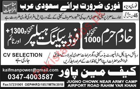 Kaif Manpower Khadim Haram and Food Packing Helper Jobs 2019