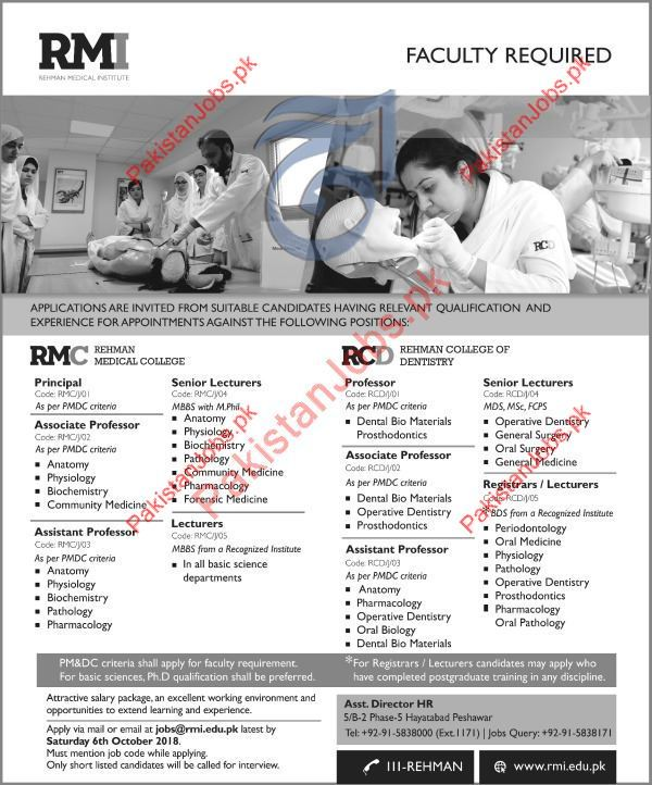 Rehman Medical Institute Rmi Professor Jobs 2018 2018 Rehman Medical
