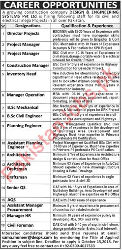 Design Engineering Systems Pvt Ltd Jobs 2018 In Lahore 2020 Construction Company Jobs In Lahore Pakistan