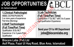 Clinical Pathologist Jobs in Biocare Labs Private Limited