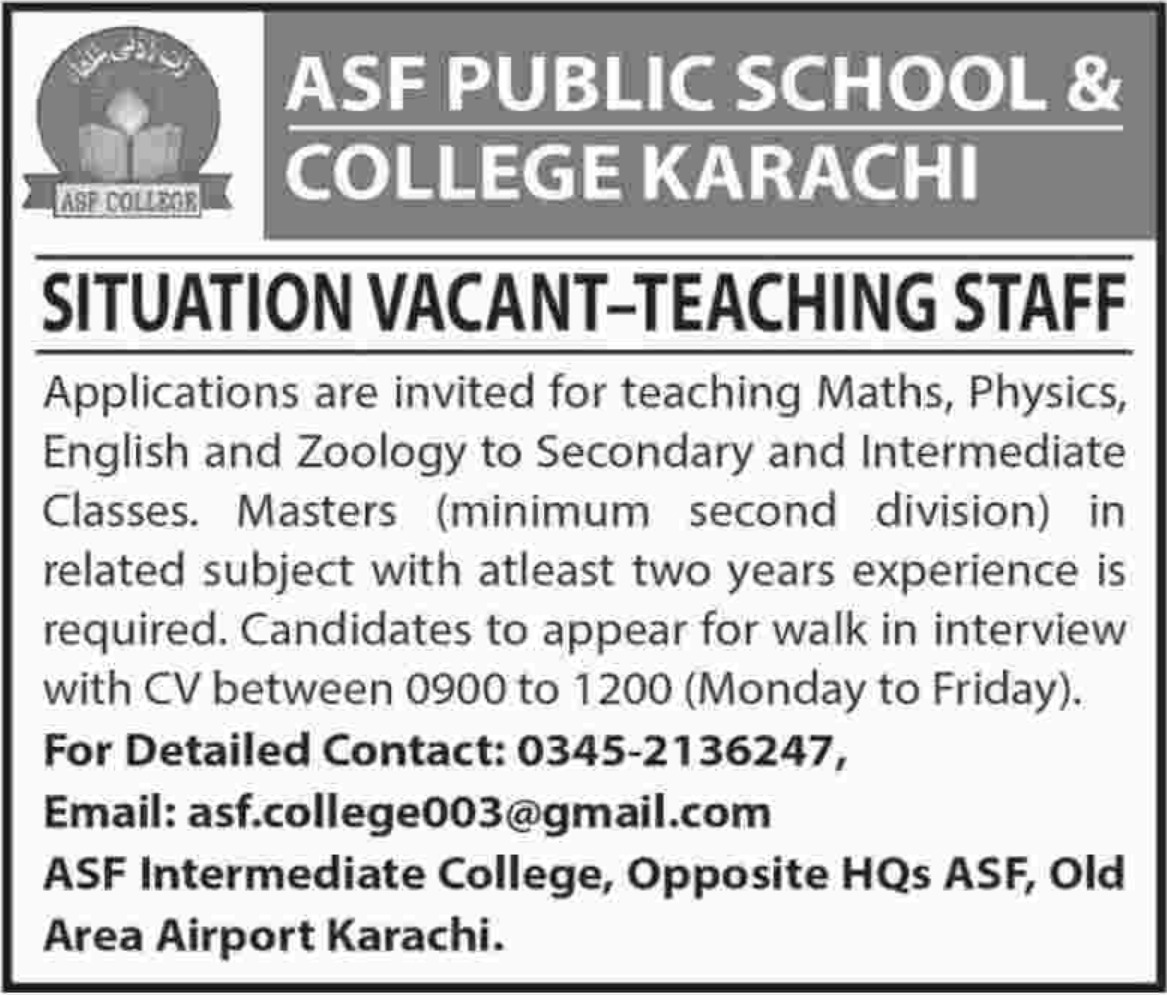 Teaching Staff required in ASF Public School & College