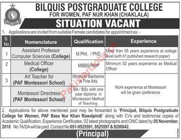 Assistant Professor Jobs in Bilquis Postgraduate College for Women