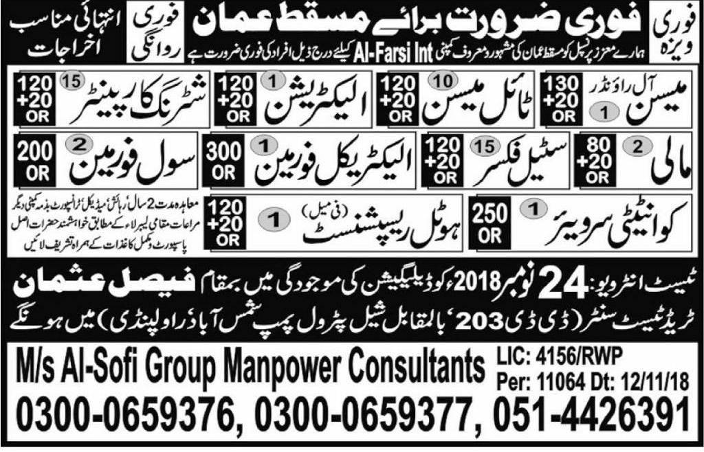 Mason Steel fixer & Electrician Jobs in Muscat 2019 Faisal