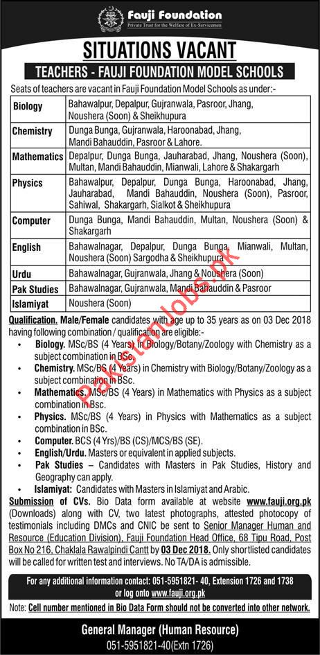 Teaching Jobs in Fauji Foundation 2019 Fauji Foundation Jobs