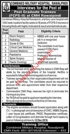 Combined Military Hospital CMH Psotgraduate Trainees Jobs 2019 2019