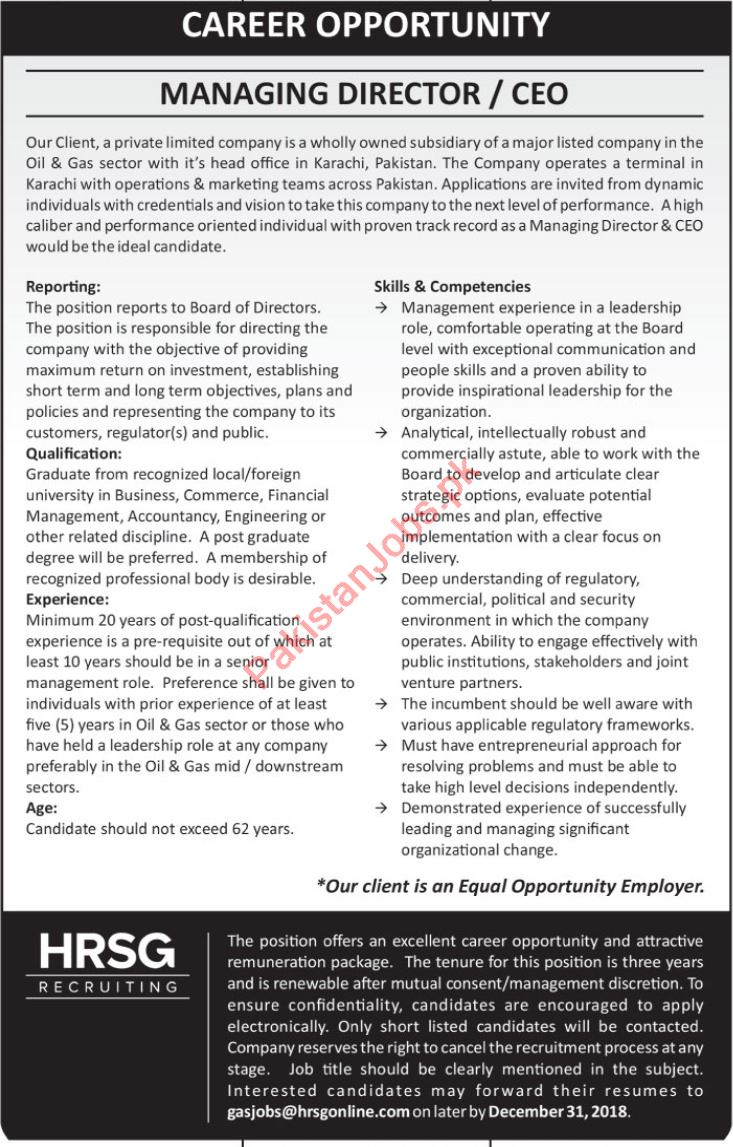 Managing Director Job in Karachi 2019 2019 Oil & Gas Company Jobs in