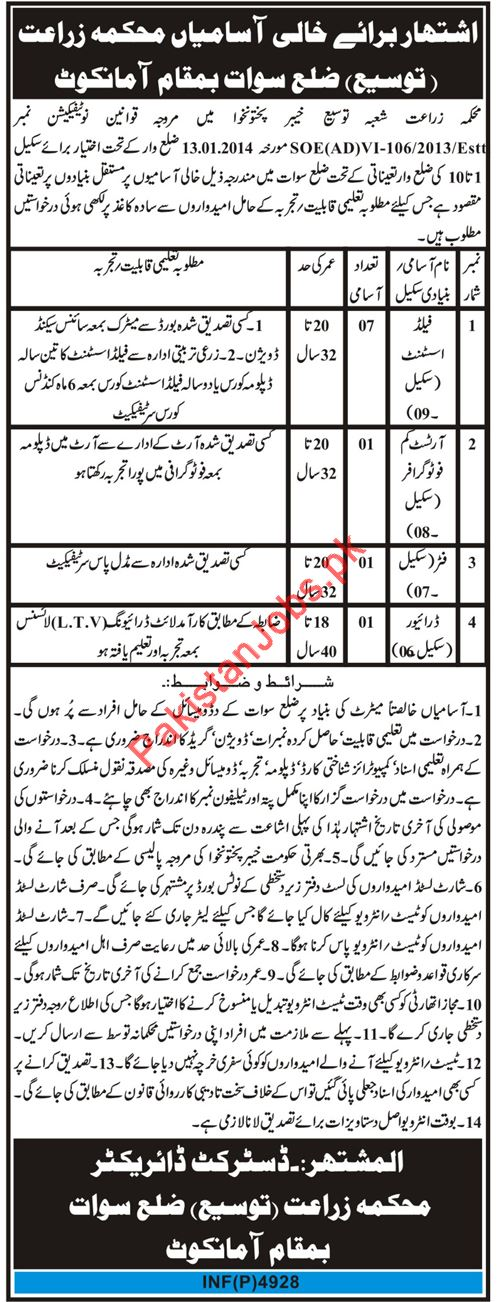 Agriculture Department Jobs 2019 in Swat KPK 2019