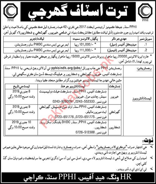 Male & Female Medical Officers Jobs 2019 in PPHI Sindh 2019