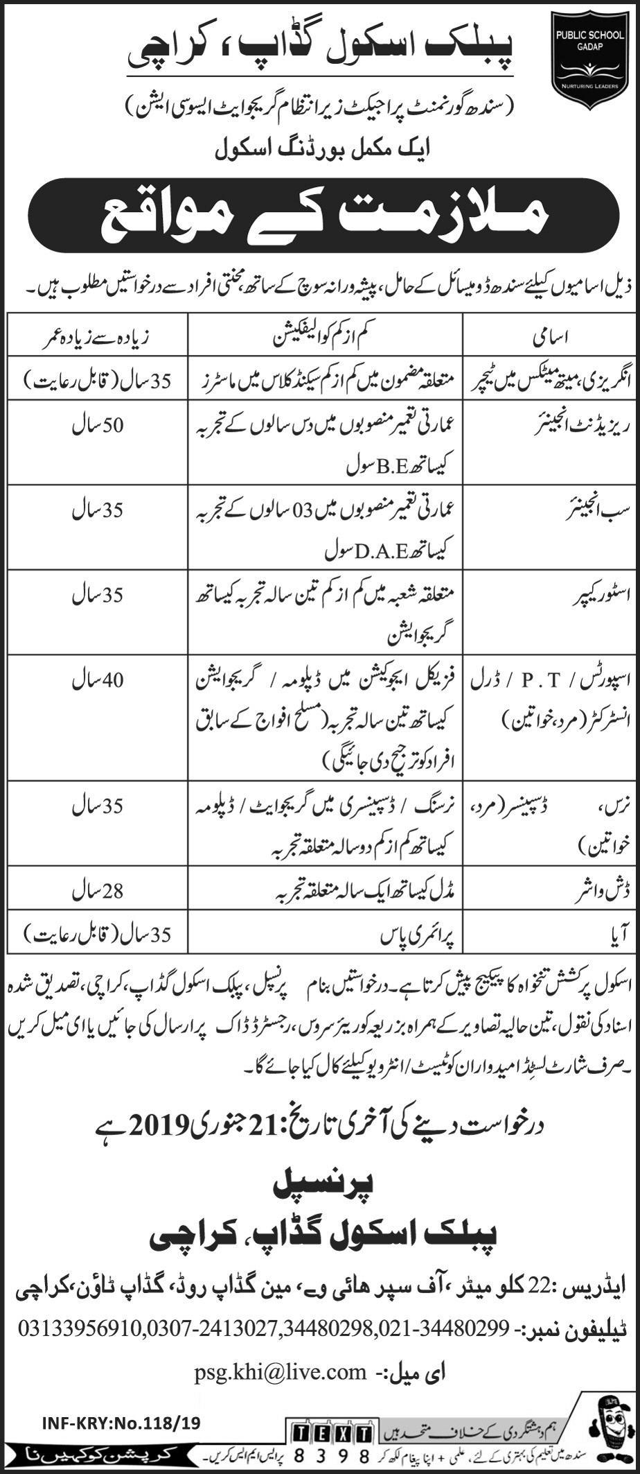 Teaching Jobs In Karachi 2019