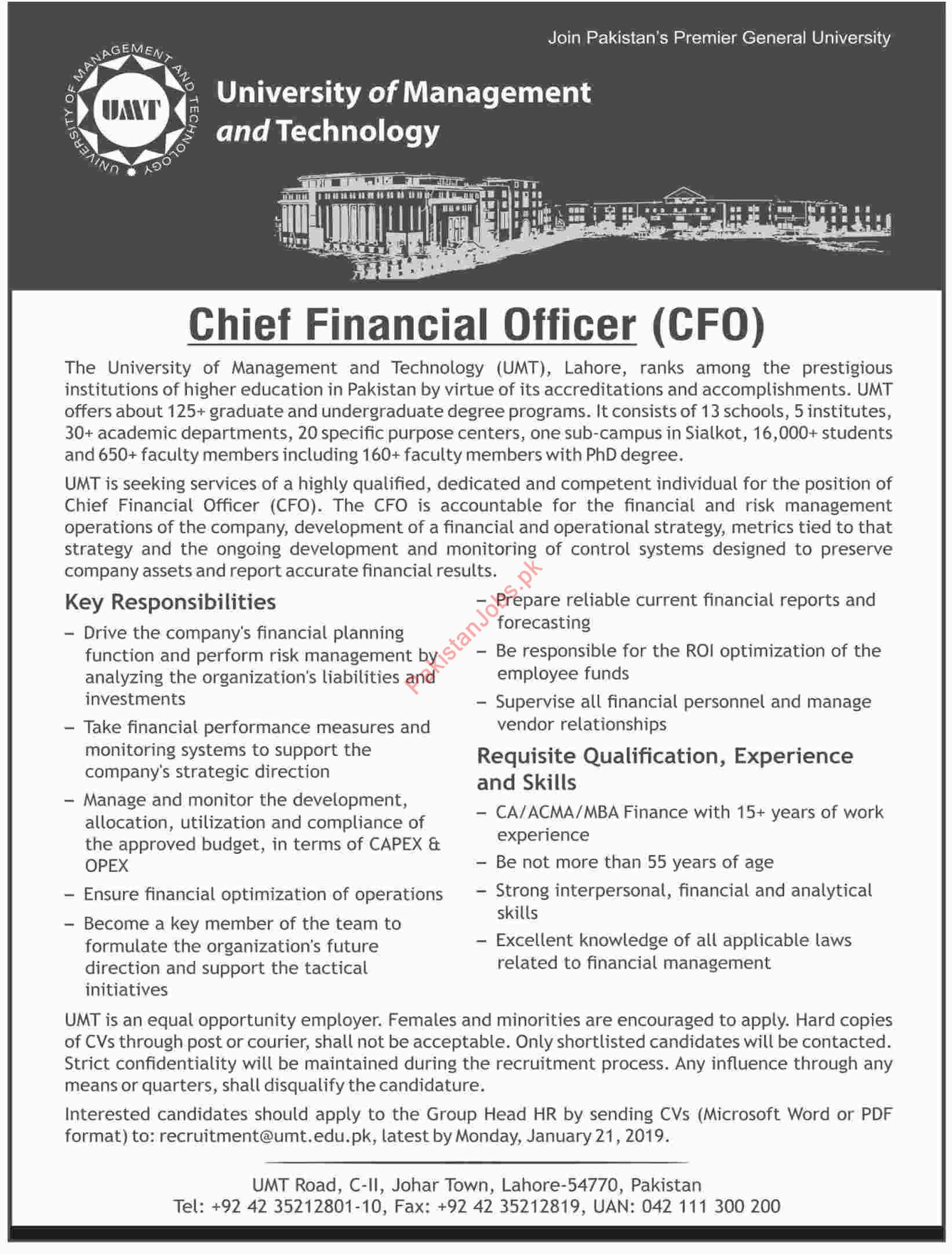 Chief Financial Officer CFO Jobs At University Of Management And