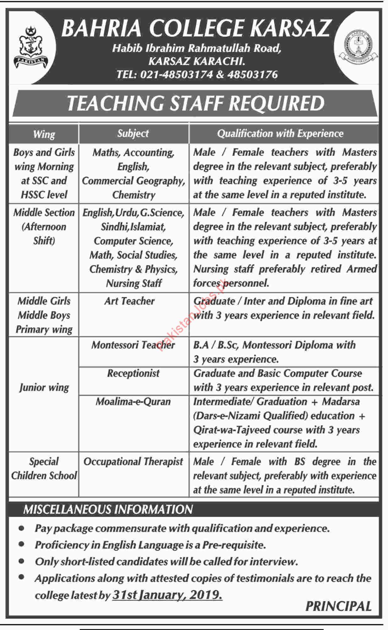 Bahria College Karsaz Math Teacher Jobs 2019 Bahria College