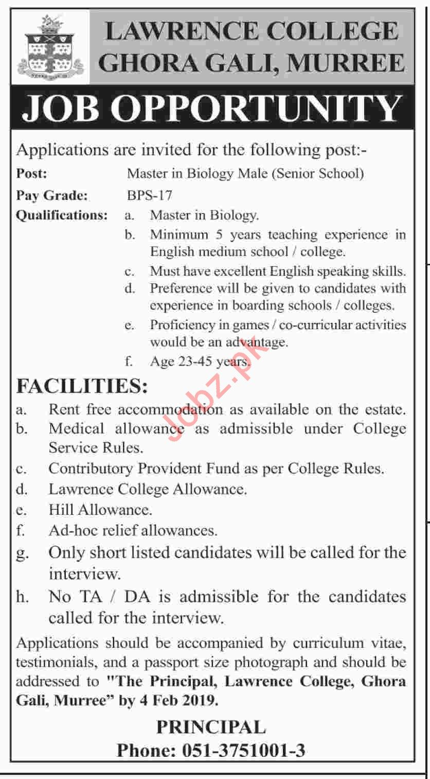 Lawrence College Ghora Gali Murree Jobs 2019 for Biology