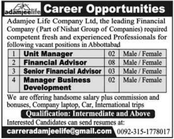 Adamjee Life Company Unit Manager Jobs 2019 2020 Adamjee Insurance Company Jobs In Abbottabad Pakistan