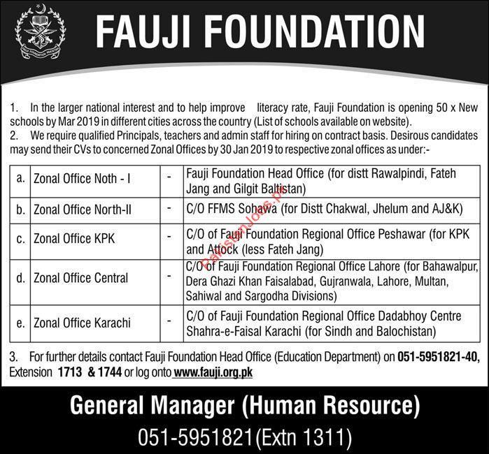 Fauji Foundation Teaching Jobs 2019 2019 Fauji Foundation