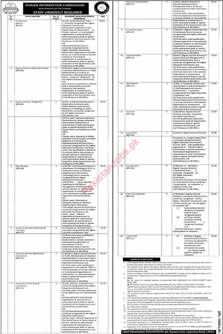 Punjab Information Commission Jobs 2019 In Lahore Through NTS 2019