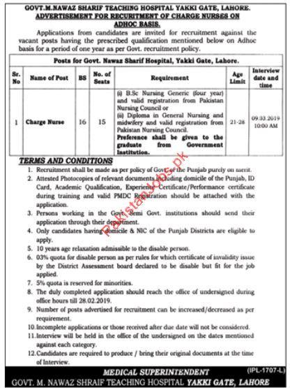 Govt  Nawaz Sharif Teaching Hospital Charge Nurse Jobs 2019 2019