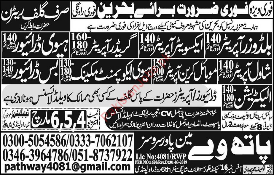 Electrician, Machine Operators & Drivers Jobs 2019 in Bahrian 2019