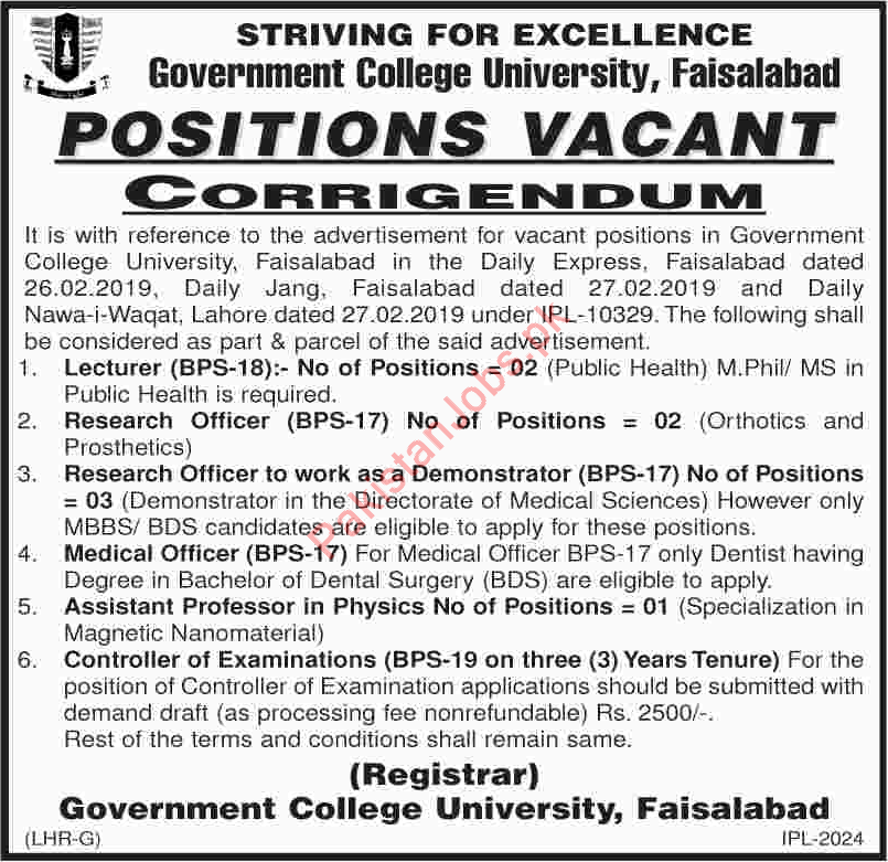 Government College University Faisalabad Lecturer Jobs 2019 2019