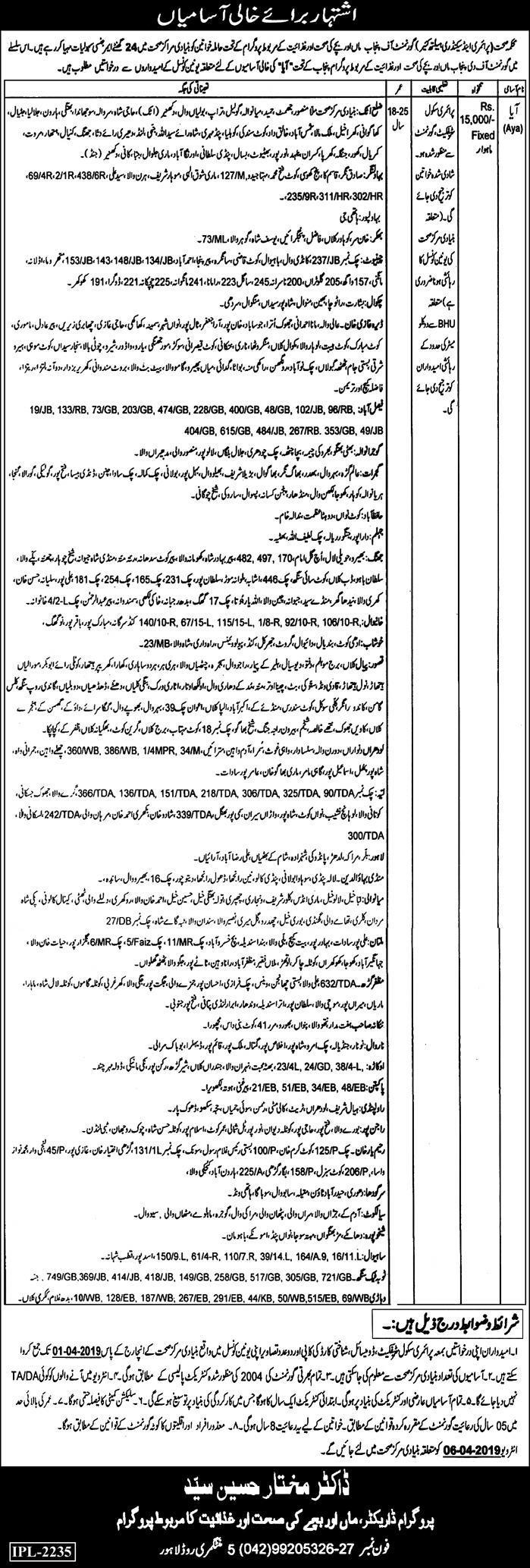 Health Department Aya Job in Punjab 2019 Health Department Jobs in