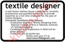 Textile Designer Jobs In Private Company 2020 Private Company Jobs In Lahore Pakistan